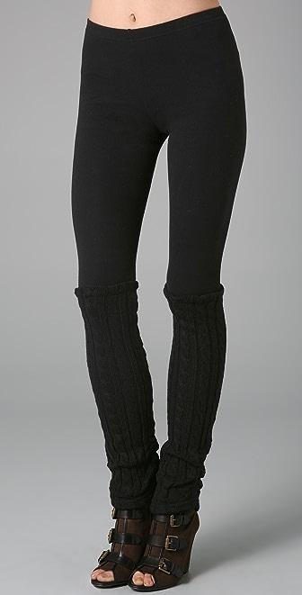 Plush Cable Knit Legwarmer Leggings