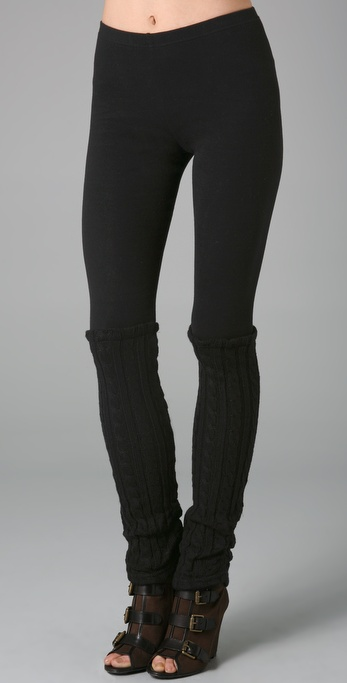 Plush Cable Knit Legwarmer Leggings