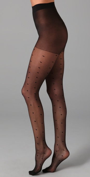 Plush Heart Pin Dot Tights