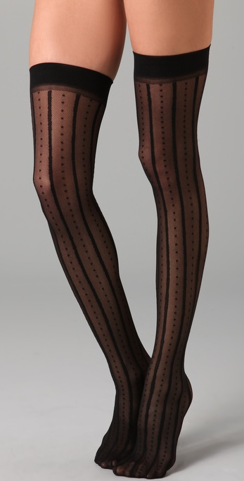 Plush Striped Dot Thigh Highs from shopbop.com