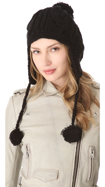 Plush Pom Pom Hat with Fleece Lined Ear Flaps