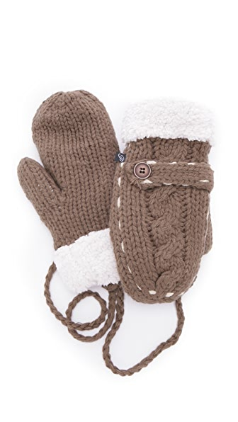 Plush Cable Knit Stitched Mittens