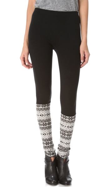 Plush Fair Isle Trim Leggings