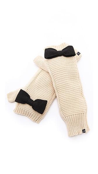 Plush Knit Bow Arm Warmers
