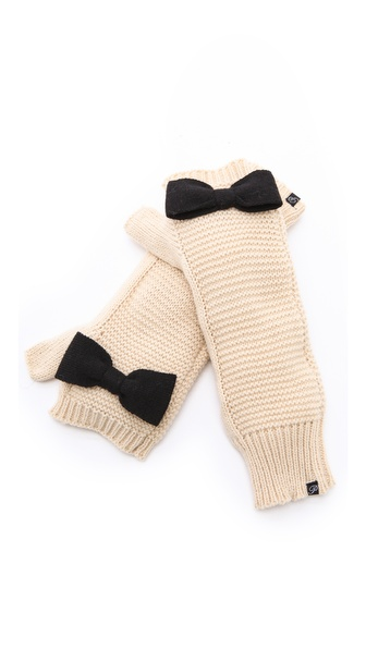 Plush Knit Bow Arm Warmers