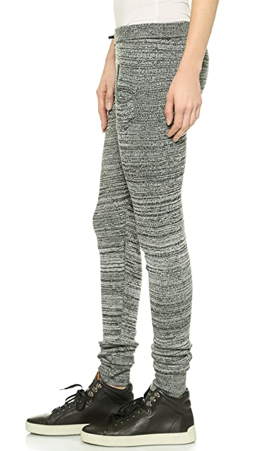 Plush 双色纱线针织贴腿裤