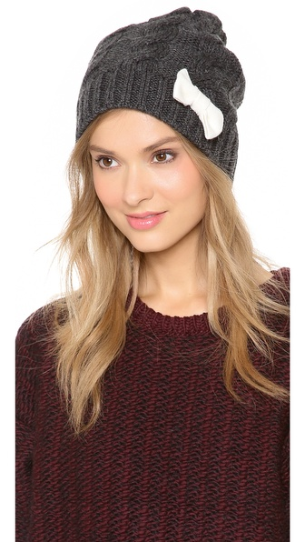 Plush Cable Knit Hat with Bow