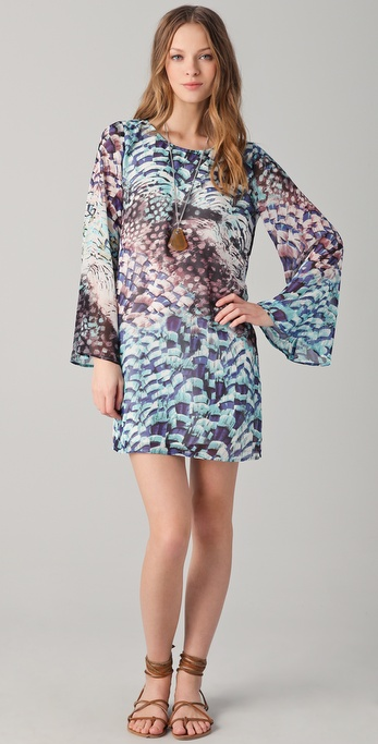 Pencey Feather Print Mini Dress