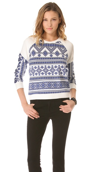 Pencey Geo Print Raglan Sweatshirt