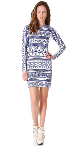 Pencey Long Sleeve Geo Dress