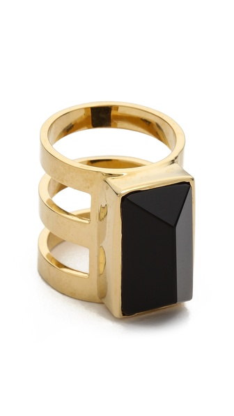 Paige Novick Isabelle Collection 3 Row Ring with Stone Inset