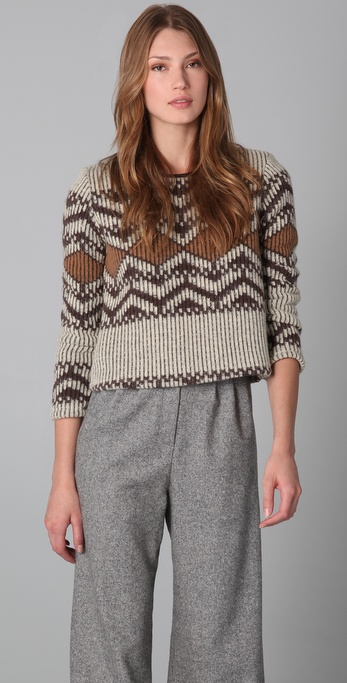 Porter Grey Cropped Adirondack Sweater