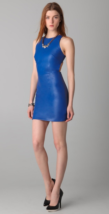 Porter Grey Leather Dress with Cutout Back
