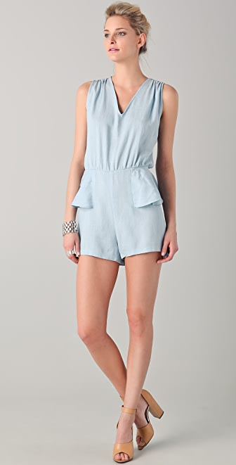 Porter Grey Denim Peplum Romper