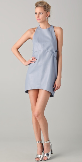 Porter Grey Perforated Leather Cocoon Dress