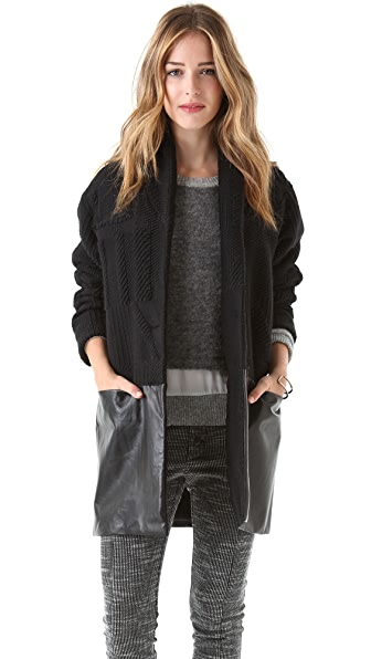 Porter Grey Combo Coat with Leather