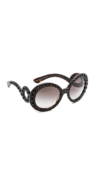 Prada Prada Studded Round Sunglasses (Grey)