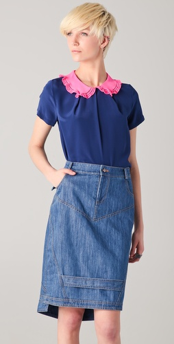 Preen Honey Top with Pink Collar