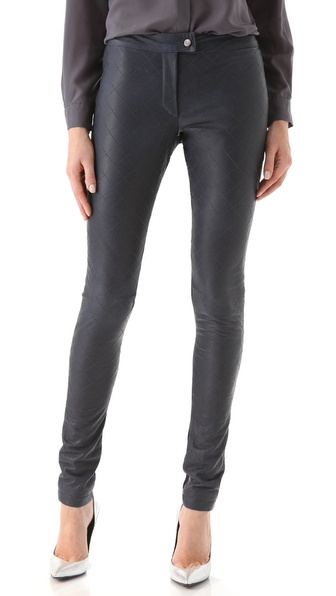 Preen Line Quilted Leather Pants