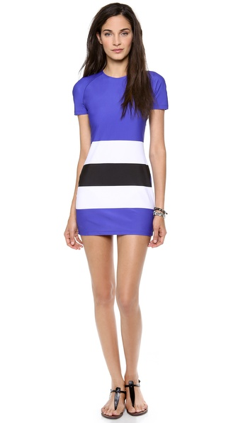 Shop Pret-a-Surf online and buy Pret-A-Surf Short Sleeve Dress Blue-White-Black - This colorblock Pret a Surf dress is detailed with wide stripes. Exposed back Zip. Short raglan sleeves. 76% polyamide/24% elastane. Wash cold. Made in the USA. Bottoms sold separately. MEASUREMENTS Length: 29in / 74cm, from shoulder. Available sizes: XS