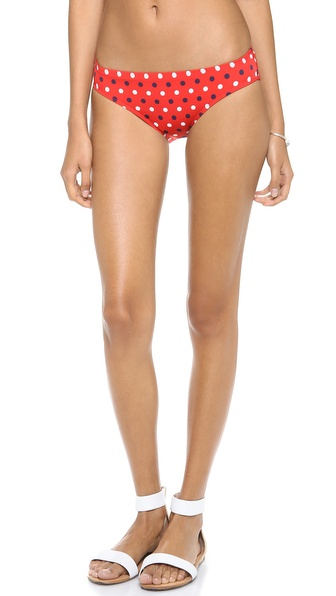 Shop Pret-a-Surf online and buy Pret-A-Surf Traditional Bikini Bottoms Red Dot - Polka dots add a classic touch to these mid rise Pret a Surf bikini bottoms. Lined. Shell: 76% polyamide/24% elastane. Lining: 78% polyester/22% elastane. Hand wash. Made in the USA. Available sizes: 0,2,6,8