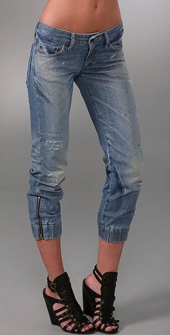 PRPS Japan Elastic Zip Cropped Jeans