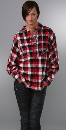 PRPS Japan Dolman Sleeve Plaid Top