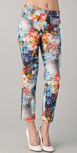 Peter Som Floral Tweed Trousers