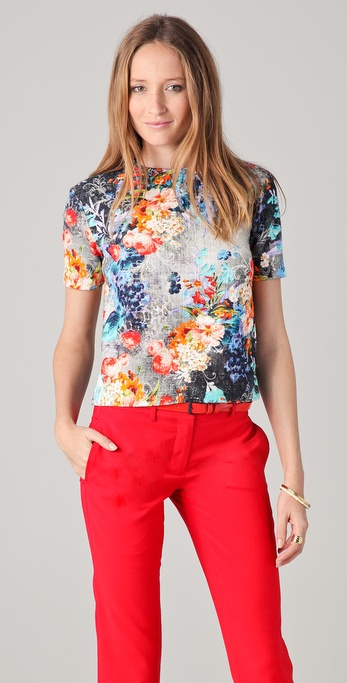 Peter Som Floral Tweed Blouse