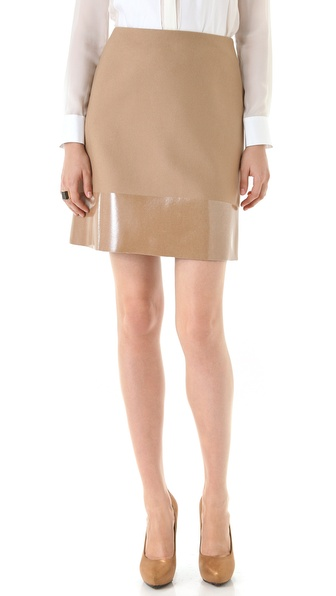 Peter Som Felted Wool Skirt with Coated Trim