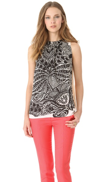 Peter Som Vine Print Sleeveless Top