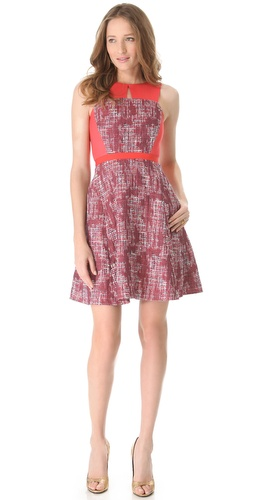 Peter Som Colorblock Tweed Dress