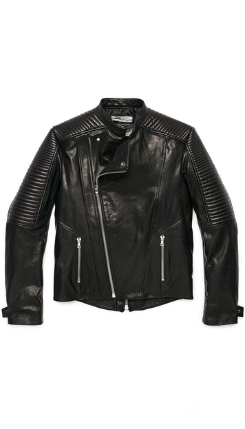 Public School Washed Coated Leather Jacket