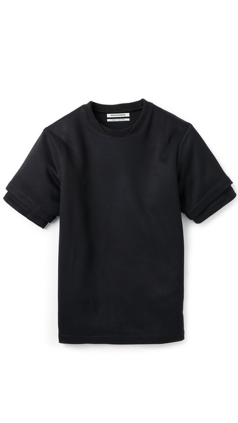 Public School Crew Tee with Short Inset Sleeves