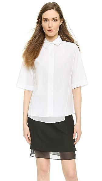 Public Public Asymmetrical Overlay Shirt (White)