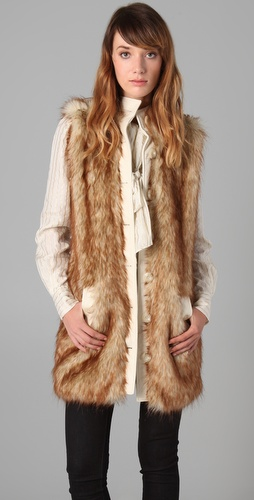 Rachel Zoe Long Faux Fur Vest