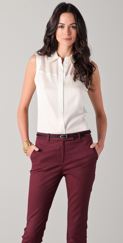 Rachel Zoe Geri Sleeveless Button Down Top