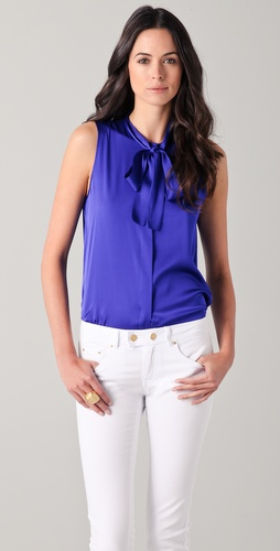 Rachel Zoe Jessica Sleeveless Tie Collar Top