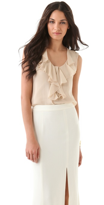 Rachel Zoe Georgia Sleeveless Ruffle Top