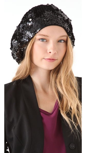 Rachel Zoe Sequin Oversized Beret