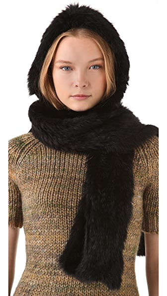 Rachel Zoe Rabbit Fur Hooded Scarf
