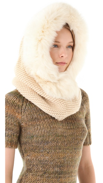 Rachel Zoe Hooded Neck Warmer with Fox Fur