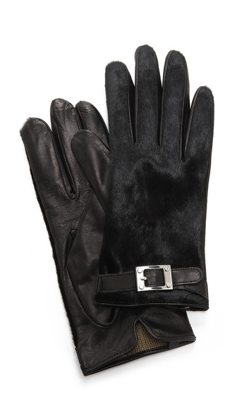 Rachel Zoe Haircalf Gloves with Signature Buckle