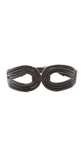 Rachel Zoe Cord Snakeskin Belt with Screw Buckle