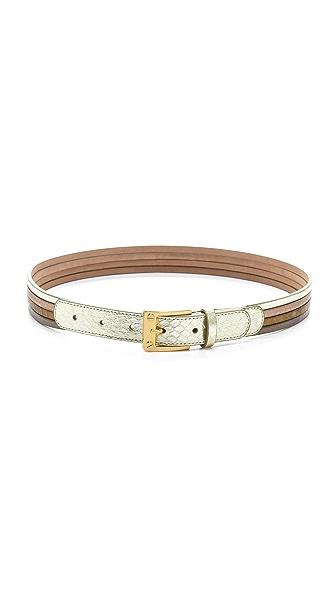 Rachel Zoe Metallic Snakeskin Belt