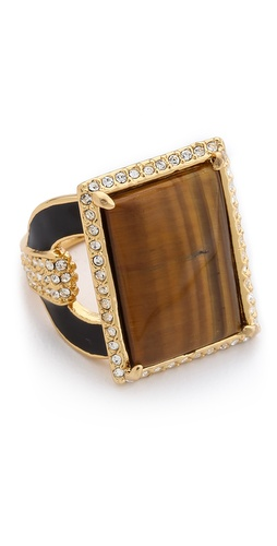 Rachel Zoe Crystal Barrel Tiger's Eye Ring