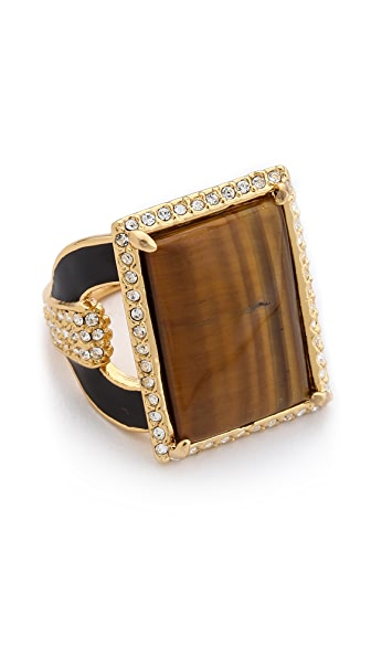 Rachel Zoe Crystal Barrel Tiger's Eye Ring