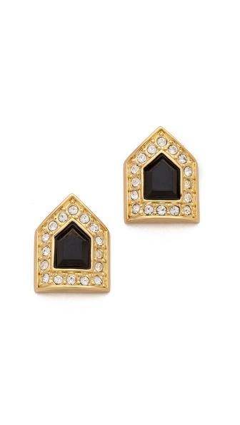 Rachel Zoe Deco Fringe Button Earrings