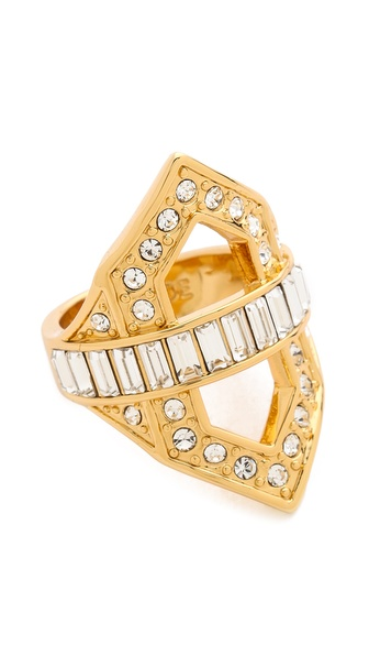 Rachel Zoe Deco Cutout Crystal Ring