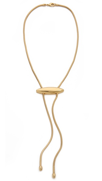 Rachel Zoe Metal Pod Faux Lariat Necklace